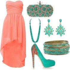 Coral high-low dress with turquoise accessories
