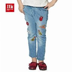 [ 30% OFF ] Children Stonewashed Pants Trousers 2016 Baby Girls Jeans Brand Fashion Spring-Autumn 4-11Yrs Kids Trousers Children Clothing