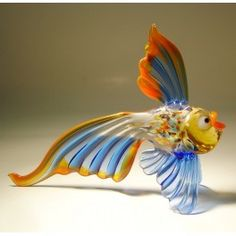 Blue and Red Glass Exotic Fish $23.95 http://www.glasslilies.com/31-blue-and-red-glass-exotic-fish.html #Blue #Red #Glass #Exotic #Fish #Gifts #GlassArt #BlownGlass #Figurine