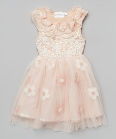 Look at this Peach Floral Lace Yoke Dress - Girls on #zulily today!
