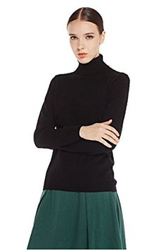 Miuk Women's 100% Cashmere Basic Slim Turtle-neck