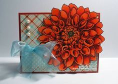 Stampendous Jumbo Dahlia by - Cards and Paper Crafts at Splitcoaststampers Paper Crafts, Card Crafts, Dahlia, Cardmaking, Poppies, Decorative Boxes, Stamps, Floral, Rubber Stamping