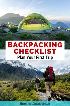 Use this simple checklist to plan your first backpacking trip. It includes all the backpacking gear you need to go overnight or multi-day hiking. Backpacking checklist. Backpacking gear checklist. Backpacking gear packing list. Backpacking packing list. What to bring backpacking. What to pack for backpacking. Gear you need for backpacking. Backpacking gear list. Backpacking Packing List, Packing Tips For Travel, Travel Guides, Ultralight Backpacking, Packing Lists, Kayak Camping, Camping Hammock, Camping Tips, Hiking Training