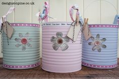 Paint and decorate large catering sized tins to make attractive storage Recycle Cans, Reduce Reuse Recycle, Diy Recycle, Tin Can Crafts, Paper Crafts, Diy Crafts, Love Craft, Paint Cans, Creative Crafts