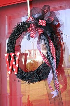 """Monogram Wreath... super cute. making this tomo!! I have a wreath and a great big """"G"""" pop by hobby lobby in the am and I will have a great wreath!!"""