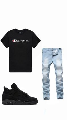 Summer Swag Outfits, Teen Swag Outfits, Dope Outfits For Guys, Stylish Mens Outfits, Fresh Outfits, Hype Clothing, Mens Clothing Styles, Champion Clothing, Mode Streetwear