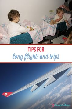 Tips and ideas to survive the long airplane ride or road trip with babies and young children. The list includes how to prepare before travel, what to pack and list of fun activities to keeps kids busy.