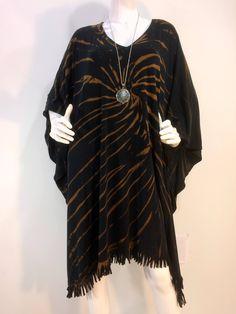 Fringed black tie dye featherweight bamboo blend poncho, caftan, kaftan. by qualicumclothworks on Etsy
