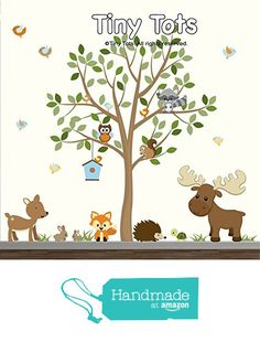 Forest Baby Wall Decals-Removable Wall Decals, Woodland Wall Stickers, Tree Decal with Animals,Moose Wall Decal, Deer, Fox, Hedge Hog, Bunny, Squirrel, Turtle, Raccoon wall decals stickers from TinyTots Wall Decals http://www.amazon.com/dp/B0195H591S/ref=hnd_sw_r_pi_dp_rK2Vwb1MDM0QZ #handmadeatamazon