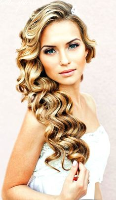 hair down wedding hairstyles, wedding hairstyles for long hair - hair down wavy wedding hairstyle Best Wedding Hairstyles, Down Hairstyles, Pretty Hairstyles, Prom Hairstyles, Hairstyle Ideas, Bridesmaid Hairstyles, Hairstyle Wedding, Romantic Hairstyles, Fashion Hairstyles