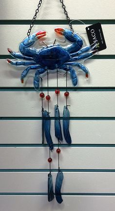 Crab Art Glass Wind Chime