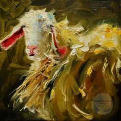 ARTOUTWEST DAILY PAINTING SEPTEMBER 30 CURLY SHEEP ANIMAL ART OIL PAINTING -- Diane Whitehead