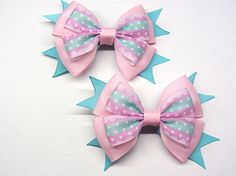 light pink bow Big pink hair bow Pigtail bow Little girls