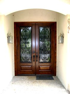 Etonnant Wood And Wrought Iron Grill Double Door. This Front Door/ Entry Door Is Sure