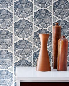 ESCHER Parchment - Clay coated wallpaper by Relativity Textiles. Hand screen printed in the USA; sold by the double roll (30' length).