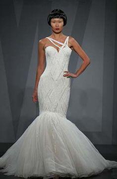 Mark Zunino Mermaid Wedding Dress with Asymmetric Neckline and Dropped Waist Waistline