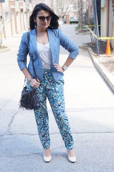 4d2c9f6a12d8 Silk pants and chambray blazer - Spring Uniform Chambray Blazer