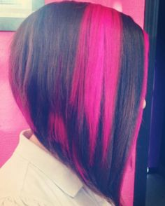 Fuchsia pink dyed hair