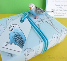 Nice paper and tag. Budgies Printable Labels / Gift Tags L005 by hfcSupplies on Etsy, £3.00