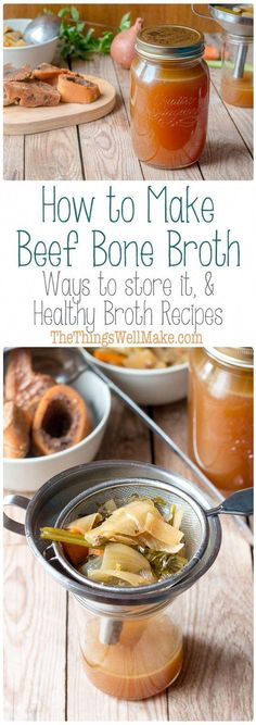 Bone broth is simple to make and is the base of many healthy broth recipes. Here's an easy recipe to use to make beef bone broth and some healthy broth recipes! Easy Soup Recipes, Paleo Recipes, Real Food Recipes, Cooking Recipes, Beef Stock Recipes, Bone Broth Soup, Beef Broth, Homemade Bone Broth, Quick And Easy Soup
