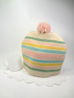 Winter pastel tea cosy Upcycled striped vintage wool blanket Pom pom Country…