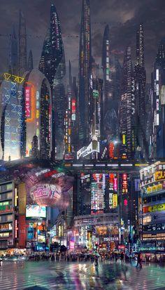 Ideas For Futuristic Concept Art Sci Fi Cyberpunk City Cyberpunk Aesthetic, Cyberpunk City, Arte Cyberpunk, Futuristic City, City Aesthetic, Futuristic Architecture, Futuristic Technology, Cyberpunk Fashion, Technology Gadgets