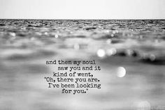 I've been looking for you. Or my soul has been missing your soul.