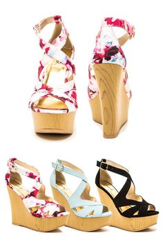 Pink Shoes Floral Wedge