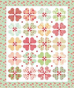 Darling Blossoms was designed with Hello Darling by Bonnie and Camille. This PDF quilt pattern includes seven pages of step-by-step instructions and color images. Darling Blossoms finishes at 60-1/2 x 72-1/2.  Copyright @2016 Mountain Rose Designs  This PDF quilt pattern may not be reproduced or distributed. Fabric requirements:  1/4 yard of (20) different fabrics for blocks 1/4 yard fabric for blocks, cornerstones 1/2 yard fabric for binding 1-3/4 yards fabric for blocks, sashing 1-3/4…