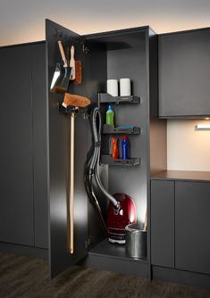 Broom Cupboard. Perfect kitchen storage for vacuums, brooms & other cleaning products. #utility #kitchenstorage #kitchenideas #kitchendesignideas #kitchenremodel #kitchens #kitchendesigner #kitchenrenovation #storageideas #storage