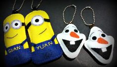 felt craft | custom made Minions and Olaf keychains