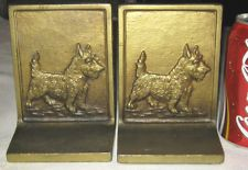"""BEST!!"" ANTIQUE BRADLEY & HUBBARD CAST IRON SCOTTISH TERRIER DOG ART BOOKENDS"