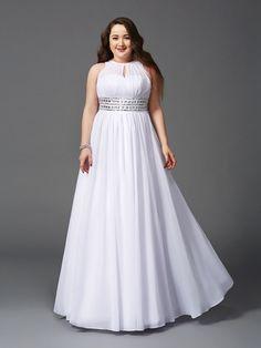 A-Line/Princess Jewel Beading Sleeveless Floor-Length Chiffon Dresses