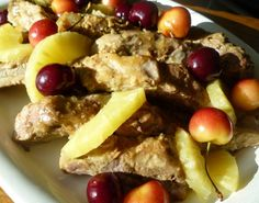 slow-cooked pork rib with pineapple and cherries. African Salad, Pork Back Ribs, Slow Cooked Pork, Canned Pineapple, Party Platters, Cherries, Slow Cooker, Meals, Dishes