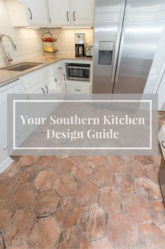 "Your southern kitchen design guide, construction2style    Backsplash | Florida Tile, 3×6 Streamline Buff with Oyster Gray Grout  Countertops | Silestone Coral Clay Quartz  Sink | Blanco Precis 1‐3/4 Bowl Undermount, Color: Truffle  Flooring | Ser Brix Old Chicago 9‐1/2"" x 11 hexagon tiles with Delorean Gray Grout  Cabinetry Paint Color 