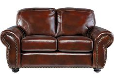 Brockett Brown Leather Loveseat