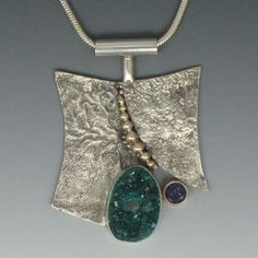 Reticulated Sterling, Drusy and Iolite Pendant   Necklaces Gallery