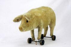 Vintage Steiff Pig Pull Toy ca1920