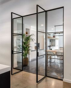 Black steel doors - Home Style At Home, Steel Doors, Internal Doors, Living Room Kitchen, Kitchen Walls, Home And Living, Interior Inspiration, Interior Ideas, Home Fashion