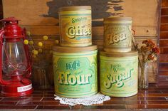 4 Piece Vintage Circa 1977 Kitchen Tin Canister by TheUrbanBarn, $48.00 original Vintage kitchen décor mid century etsy shops antique colorful unique one of a kind 50s 60s 70s cute gift for her for him rusty rustic primitive barn farm country home farmhouse weddings wedding decoration