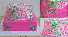Lilly Pulitzer-inspired grad cake