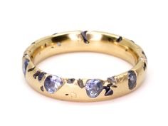 Blue Sapphire Eroded Crystal Ring, 18Y - Polly Wales-