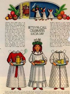 santa lucia paper doll and short story. Mostly Paper Dolls: magazine paper dolls - I always looked forward to getting the latest issue of McCalls Swedish Christmas, Noel Christmas, Scandinavian Christmas, Christmas Paper, Vintage Christmas, Christmas Crafts, Xmas, Christmas Tables, Modern Christmas