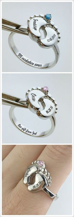 3D Baby Feet Ring with engravings & birthstone,unique and personalized gift for all mothers. Find more at www.getnamenecklace.com