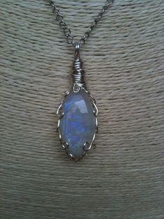 Rainbow Moonstone Necklace by EnchantedAutumn2012 on Etsy, $40.00
