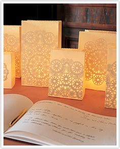 How cute is this? With the LED candles that are out now, these could be done inside or out!
