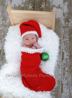 PATTERN Christmas Stocking and Santa Hat by SweetPotato3Patterns – This would be a wonderful sweet gift to give to an expectant mother!! Or a mom of a just newly born!! ADORABLE!