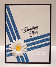 Classy Cards 'n Such: Daisy Glitter Stripes