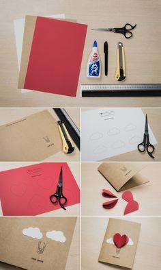 Cartões criativos para dia dos namorados. Estilo Scrap Card.