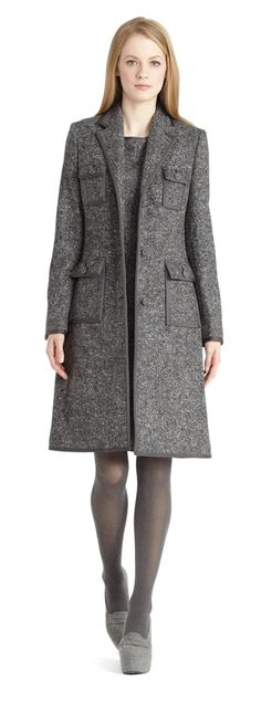Donegal coat with grosgrain trim Brothers Clothing, Brooks Brothers Women, Office Wear, Well Dressed, My Style, Classic Style, Work Wear, Tweed, Dresses For Work